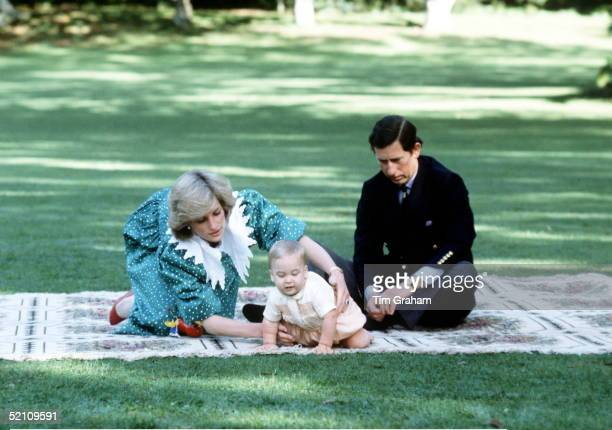 The Prince And Princess Of Wales With Baby Prince William At A Photocall In New Zealand