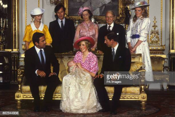 The Prince and Princess of Wales with Prince William and his godparents exKing Constantine of Greece Princess Alexandra Lord Romsey Lady Hussey Sir...