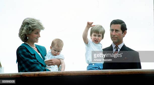 The Prince and Princess of Wales with Prince William and Prince Harry on the Royal Yacht Britannia on May 6 1985 in Venice Italy