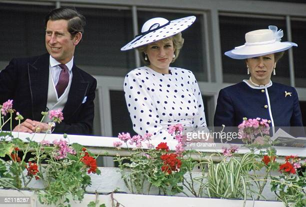 The Prince And Princess Of Wales With Princess Anne Watching The Derby In Epsom Surrey