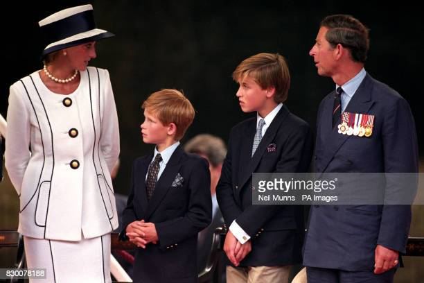 The Prince and Princess of Wales with sons Prince William and Prince Harry, attending the VJ Day commemorations at Buckingham Palace.