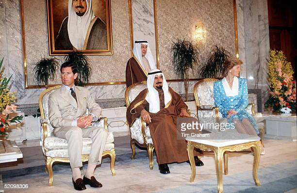 The Prince And Princess Of Wales With The Amir Of Kuwait During Their Official Tour Of Kuwait As Part Of Their Tour Of The Gulf States