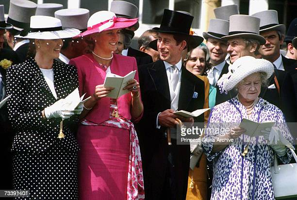 The Prince and Princess of Wales with the Duchess of York and the Queen Mother on Derby Day June 1987 Angus Ogilvy stands behind the Queen Mother