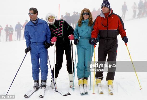 The Prince And Princess Of Wales With The Duke And Duchess Of York During A Skiing Holiday In Klosters Switzerland