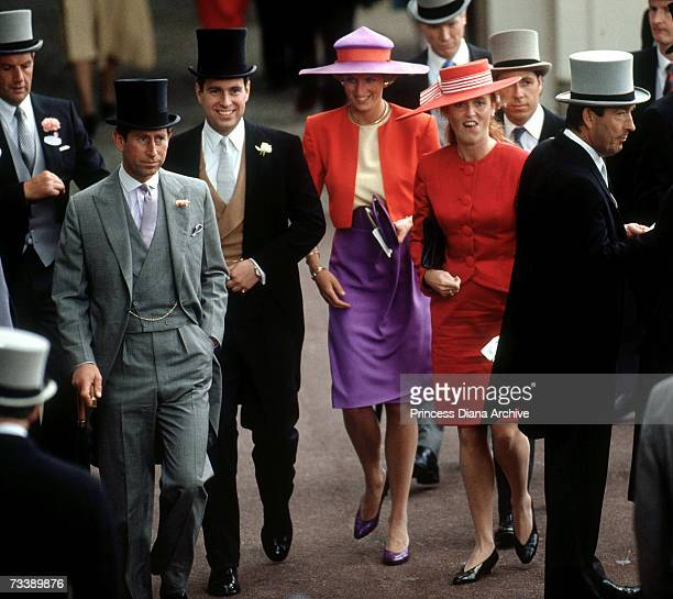 The Prince and Princess of Wales with the Duke and Duchess of York and Viscount Linley at the Royal Ascot race meeting June 1990 The Princess is...