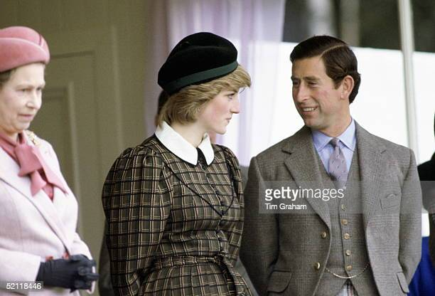 The Prince And Princess Of Wales With The Queen Attending The Braemar Games In Scotalnd