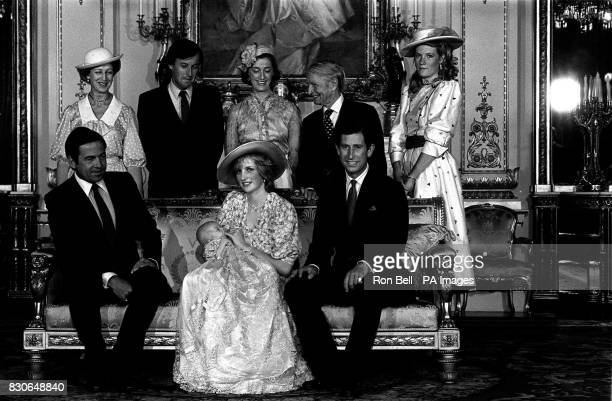 The Prince and Princess of Wales with their son Prince William after his christening at Buckingham Palace in London * with godparents exKing...