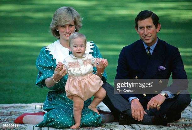 The Prince and Princess of Wales with their son Prince William during a visit to Auckland New Zealand