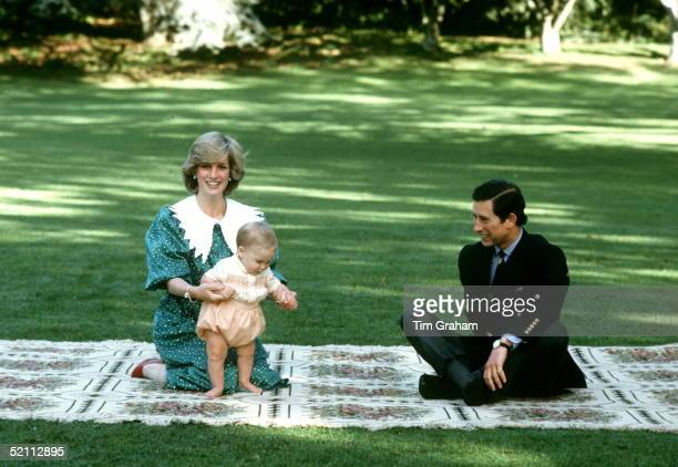 The Prince And Princess Of Wales With Their Son Prince William In Auckland New Zealand