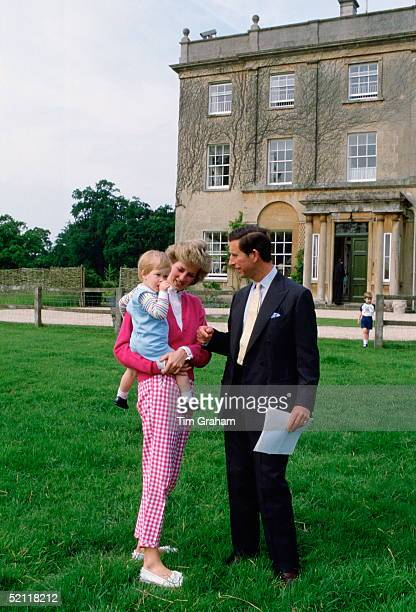 The Prince And Princess Of Wales With Their Youngest Son Prince Harry Outside Highgrove In Tetbury