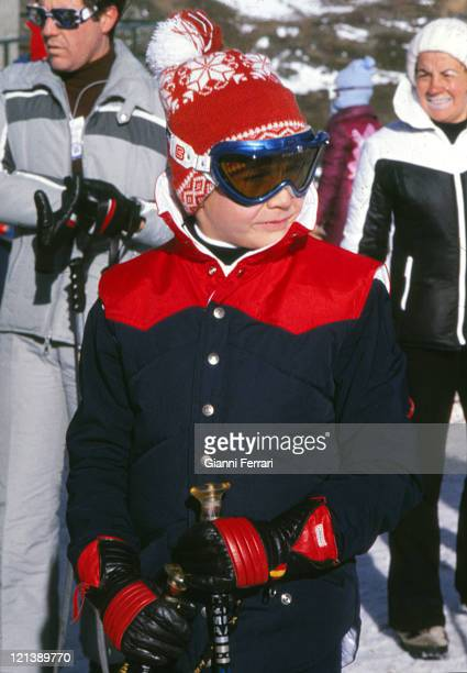 The Prince Felipe son of Spanish Kings Juan Carlos and Sofia skiing in Baqueira Beret Lerida Spain