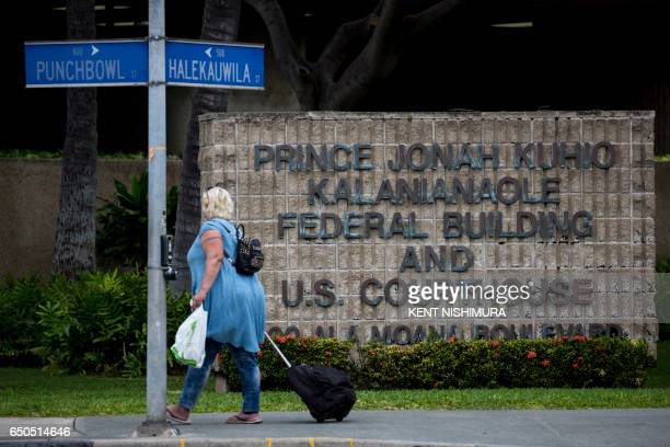 The Prince Jonah Kuhio Federal Building and US District Courthouse on March 09 2017 in Honolulu Hawaii US President Donald Trump's revised travel ban...