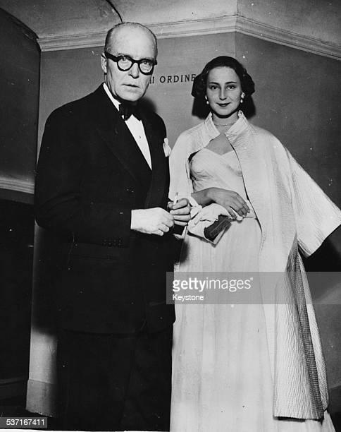 The Prince of Monaco and Eliana de Sabata daughter of composer Victor de Sabata arriving at La Scala for the opening of 'Vespri Siciliana' by Verdi...