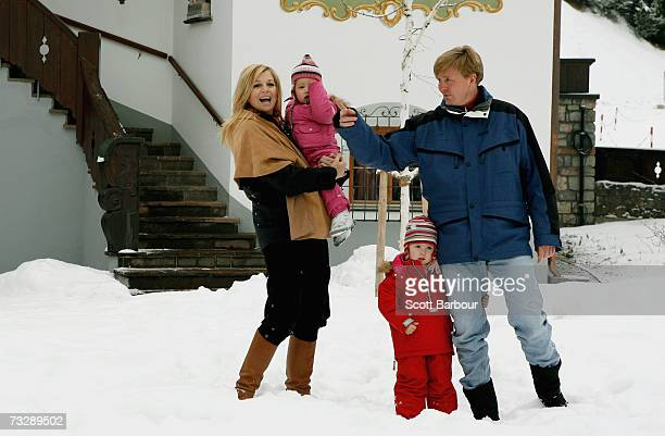 The Prince of Orange Prince WillemAlexander and Princess Maxima pose for photographs with their daughters Princess CatharinaAmalia and her sister...