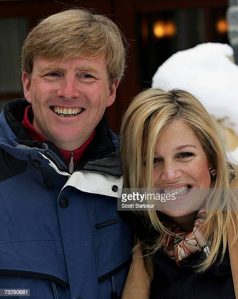 The Prince of Orange Prince WillemAlexander and Princess Maxima pose for photographs at the start of their annual Austrian skiing holiday on February...