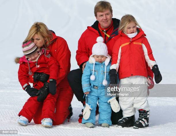 The Prince of Orange Prince WillemAlexander and Princess Maxima pose with their daughters Princess Alexia Princess Ariane and Princess...