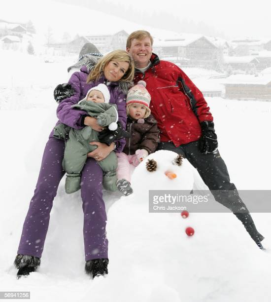 The Prince of Orange Prince WillemAlexander Princess Maxima and their daughters Princess CatharinaAmalia and her sister Princess Alexia of The...