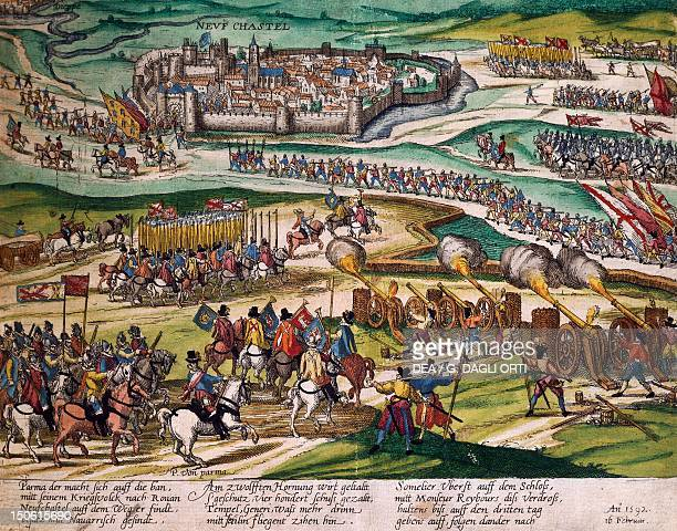 The Prince of Parma conquers Neuchatel, 3 February engraving by Franz Hogenberg . Switzerland, 16th century.