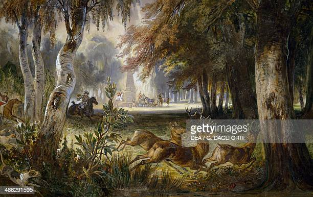 The Prince of Wagram's hunt The pursuit watercolour painting by Francois Gabriel Guillaume Lepaulle