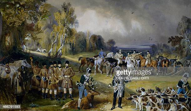 The Prince of Wagram's hunt The spoils watercolour painting by Francois Gabriel Guillaume Lepaulle