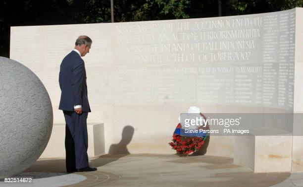 The Prince of Wales after unveiling a memorial to those who died in the Bali bombings four years ago on Clive Steps at Horse Guards Road London
