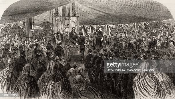 The Prince of Wales Albert Edward distributing the prizes on board the training ship Worcester at Erith London United Kingdom illustration from the...