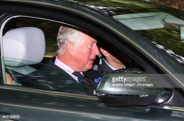 The Prince of Wales also known as the Duke of Rothesay when in Scotland arrives at Crathie Kirk in Scotland for a Sunday morning church service