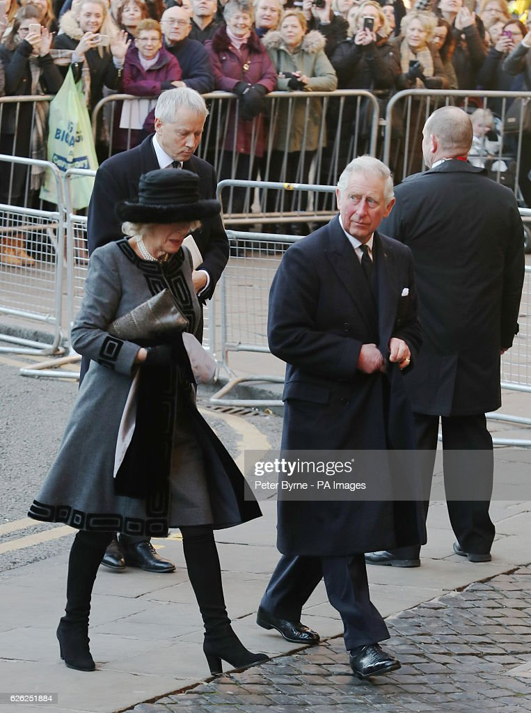 The Prince of Wales and Duchess of Cornwall arriving for a memorial service to celebrate the life of the sixth Duke of Westminster at Chester Cathedral, Chester.