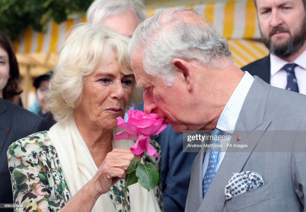 The Prince of Wales and Duchess of Cornwall during a visit to the Flower Market in Nice, France as part of their visit to the country.