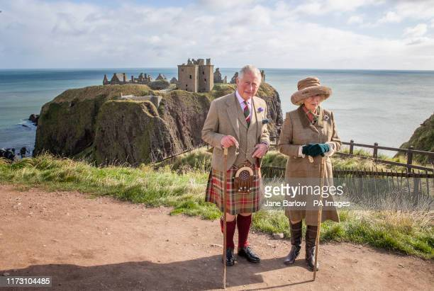 The Prince of Wales and Duchess of Cornwall, known as the Duke and Duchess of Rothesay while in Scotland, visit Dunnottar Castle, the cliff top...