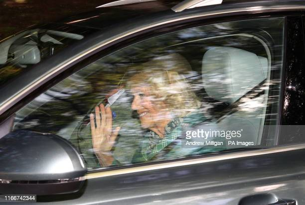 The Prince of Wales and Duchess of Cornwall leave Crathie Kirk after attending a Sunday morning church service near Balmoral, where members of the...