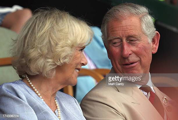 The Prince of Wales and Duchess of Cornwall smile as they visit the Royal Welsh Show at Royal Wales Showground on July 24, 2013 in Builth Wells,...
