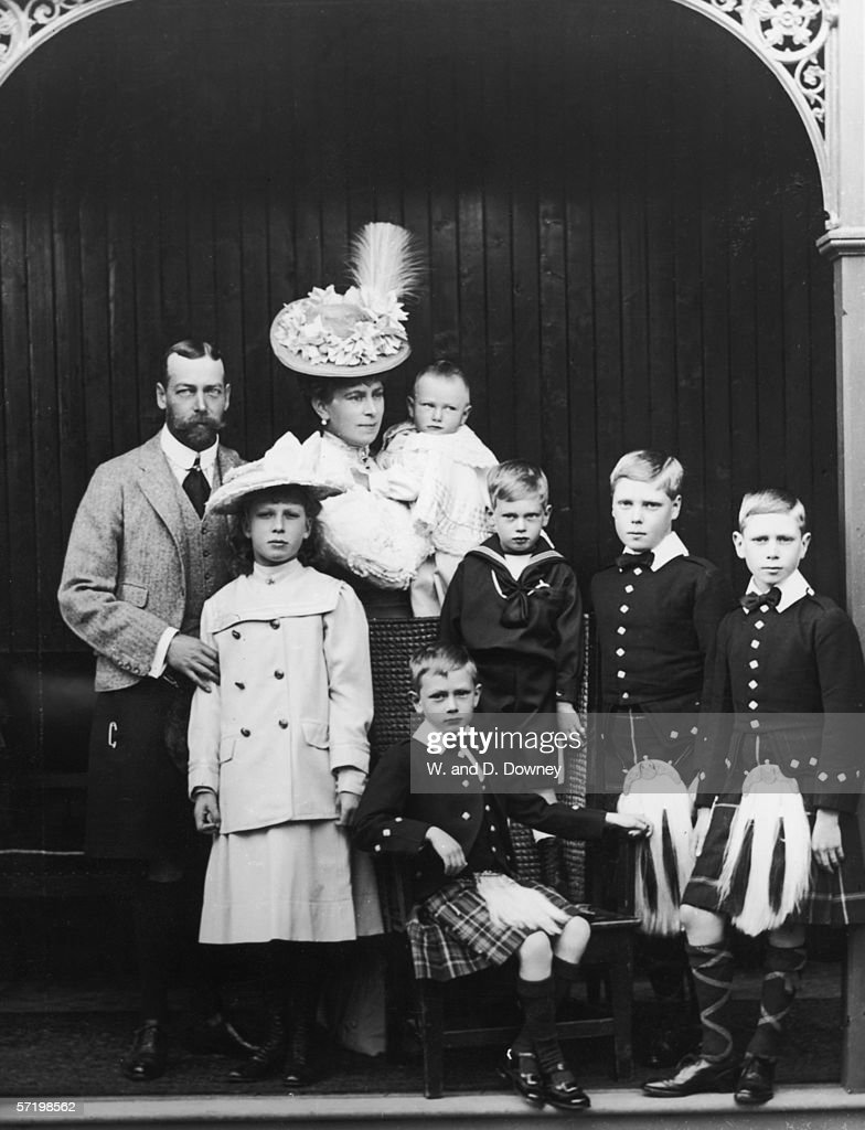 The Prince of Wales (1865 - 1936, later King George V) and family at at Abergeldie Castle, Aberdeenshire, 1906. Left to right: George, Prince of Wales, Princess Mary the Princess Royal (1897 - 1965), The Princess of Wales (1867 - 1953, later Queen Mary) holding Prince John (1905 - 1919), Prince Henry (1900 - 1974, seated), Prince George (1902 - 1942), Prince Edward (1894 - 1972, later Edward VIII) and Prince Albert (1895 - 1952, later George VI).