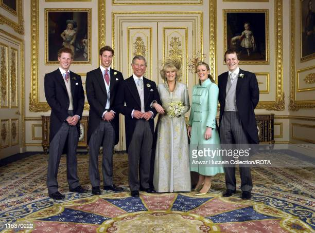The Prince of Wales and his new bride Camilla, Duchess of Cornwall, with their children Prince Harry, Prince William, Laura Parker Bowles and Tom...
