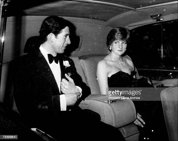 The Prince of Wales and his new fiancee Lady Diana Spencer arrive at Goldsmith Hall in London for a charity recital March 1981 Diana wears a lowcut...