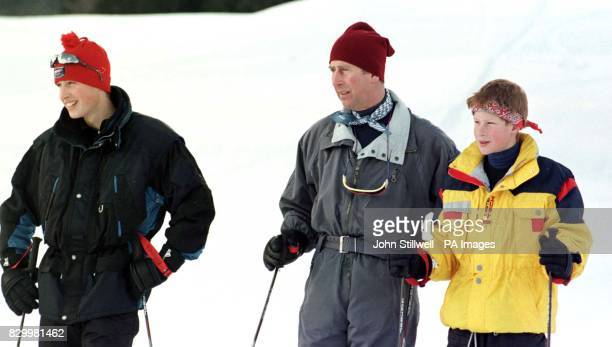 The Prince of Wales and his sons Prince William and Prince Harry, face the media - including the French paparazzi - during their private Alpine...