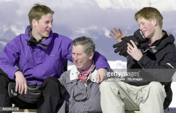 The Prince of Wales and his sons, Prince William and Prince Harry, pose for photographers on the Madrisa ski slopes above Klosters. They are on the...