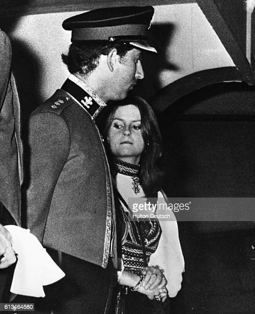 The Prince of Wales and Lady Jane Wellesley at the final performance of the 1972 Royal Tournament at Earls Court
