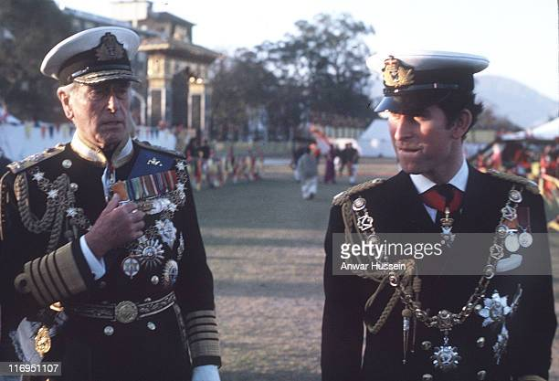 The Prince of Wales and Lord Mountbatten wearing full naval uniform visited Nepal in 1975 to attend the coronation of King Birendra