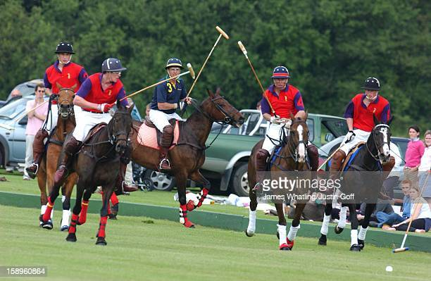 The Prince Of Wales And Princes William Harry Play Polo At The Cirencester Park Polo Club