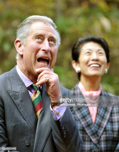 The Prince of Wales and Princess Takamado look on as children climb up trees during a visit to the Afan Forest near the village of Shinanomachi in...