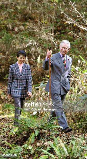 The Prince of Wales and Princess Takamado visit the Afan Forest near the village of Shinanomachi in central Japan