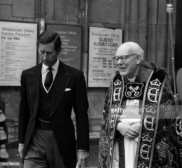 The Prince of Wales and the Dean of Westminster the Very Rev Edward Carpenter outside Westminster Abbey London after Service of Thanksgiving for the...