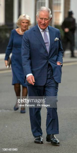 The Prince of Wales and the Duchess of Cornwall arrive for a tea party at Spencer House in London to celebrate 70 inspirational people marking their...