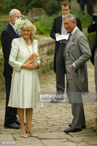 The Prince of Wales and The Duchess of Cornwall arrive for the wedding of the Duchess's daughter Laura Parker Bowles to Harry Lopes at St Cyriac's...