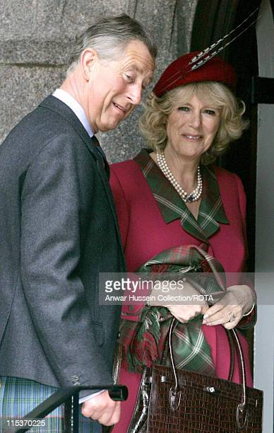 The Prince of Wales and the Duchess of Cornwall at Crathie Parish Church in Aberdeenshire Sunday April 10, 2005 in their first public engagement...