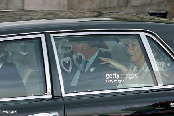 The Prince of Wales and The Duchess of Cornwall Camilla Parker Bowles depart through King Henry VIII gate for their honeymoon in Scotland at Windsor...