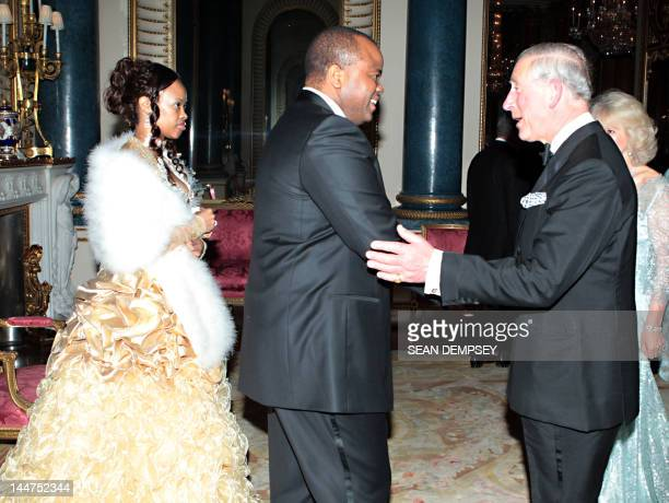 The Prince of Wales and the Duchess of Cornwall greet King Mswati III and wife Inkhosikati LaMbikiza of Swaziland before hosting a dinner for foreign...