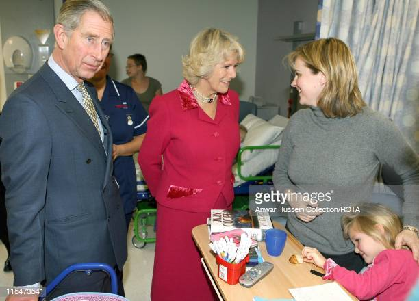 The Prince of Wales and the Duchess of Cornwall meet five-year-old patient Anastasia Chubb at Great Ormond Street Hospital for Children in London,...