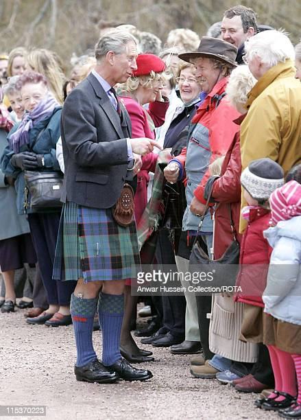 The Prince of Wales and the Duchess of Cornwall meet well-wishers at Crathie Parish Church in Aberdeenshire Sunday April 10, 2005 in their first...